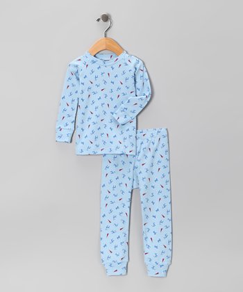Light Blue Reindeer Recess Pajama Set - Infant, Toddler & Kids