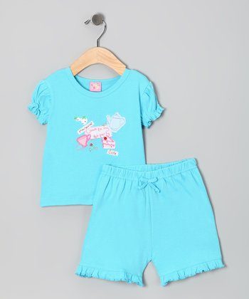 Blue Tea Party Top & Shorts