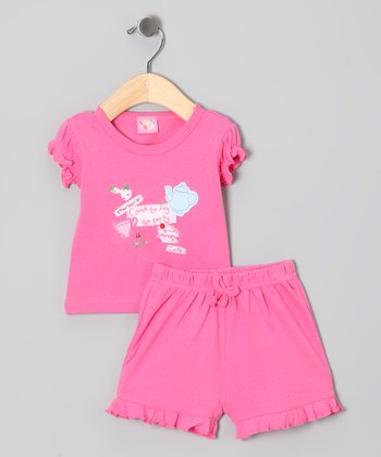 Pink 'Tea Party' Top & Shorts