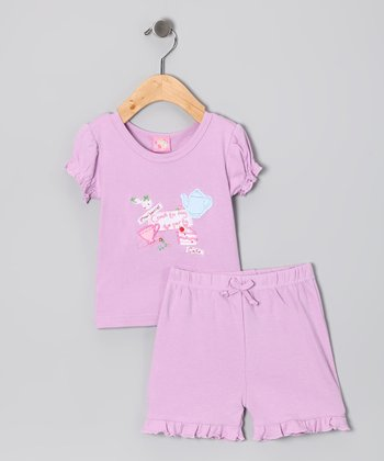 Lilac 'Tea Party' Top & Shorts
