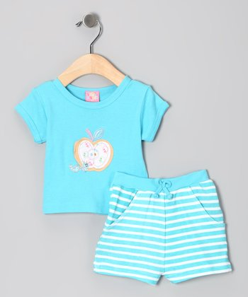 Blue Stripe Apple Tee & Shorts