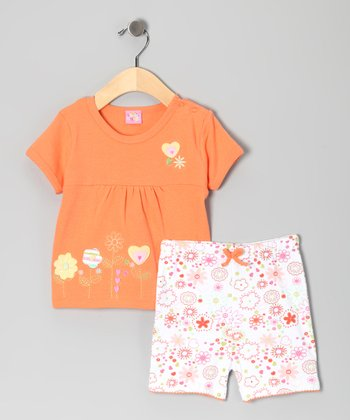 Orange Flower Heart Top & Shorts