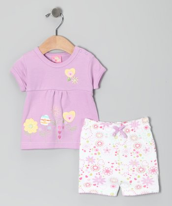 Lilac Flower Heart Top & Shorts