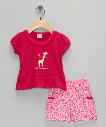 Hot Pink Giraffe Top & Shorts - Infant