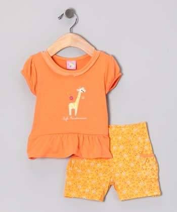 Orange 'High Maintenance' Top & Shorts - Infant