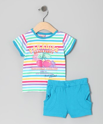 Blue 'Paradise' Stripe Tee & Shorts
