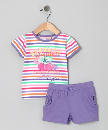 Purple 'Paradise' Stripe Tee & Shorts