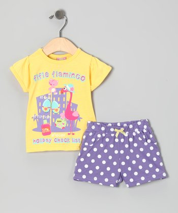 Yellow 'Holiday' Flamingo Tee & Shorts - Infant