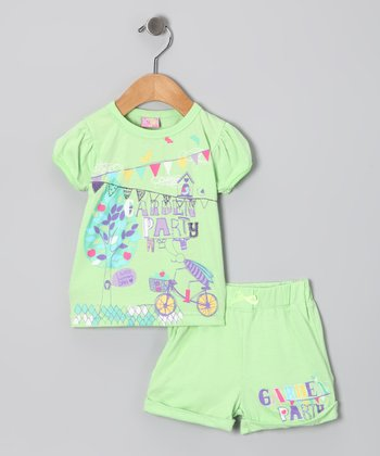 Mint 'Garden Party' Tee & Shorts