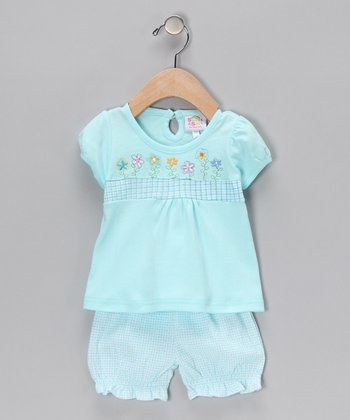 Blue Embroidered Top & Ruffle Shorts - Infant
