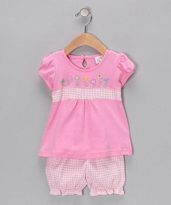 Pink Embroidered Flower Top & Ruffle Shorts - Infant