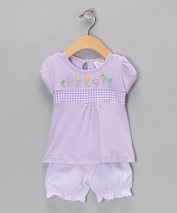 Purple Embroidered Flower Tee & Ruffle Shorts - Infant