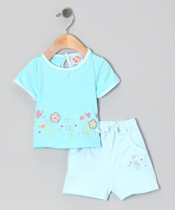 Blue Flower Garden Tee & Shorts