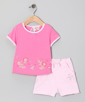 Pink Embroidered Flower Garden Tee & Shorts