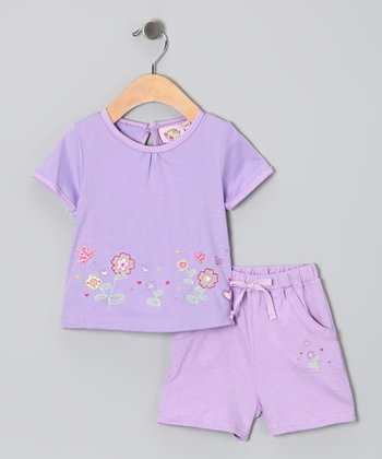 Lilac Embroidered Flower Garden Tee & Shorts
