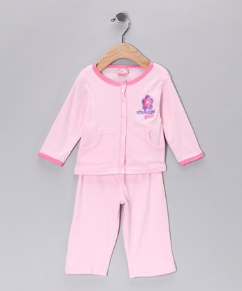 Pink 'Vintage Girl' Cardigan & Pants