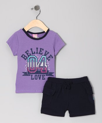 Purple 'Believe' Tee & Shorts