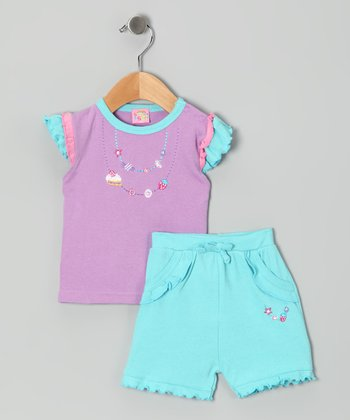 Sweet & Soft Lilac Dessert Necklace Top & Shorts - Infant