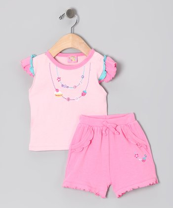 Sweet & Soft Pink Dessert Necklace Top & Shorts - Infant