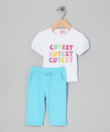 White & Blue 'Cutest' Tee & Pants - Infant