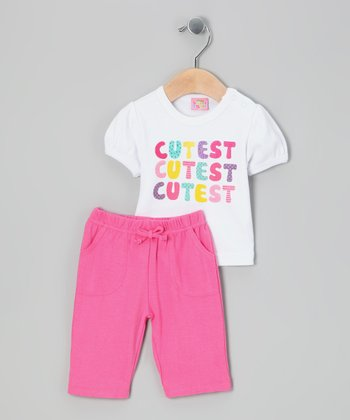 White & Pink 'Cutest' Tee & Pants - Infant