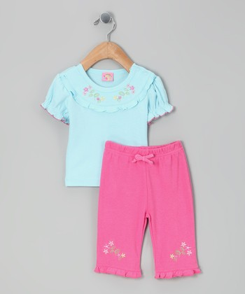 Blue Flower Top & Pink Pants - Infant