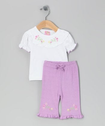 White Flower Top & Purple Pants - Infant