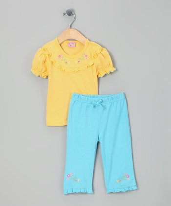 Yellow Flower Top & Turquoise Pants - Infant