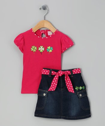 Pink 'Lucky' Top & Skirt - Infant
