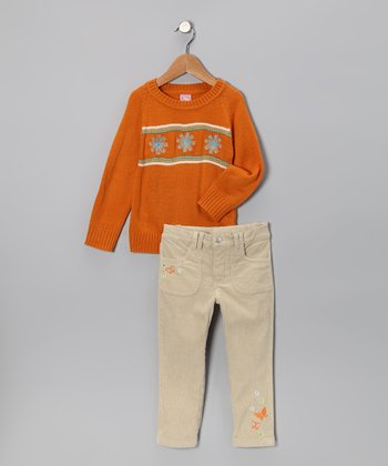 Orange Flower Trio Sweater & Pants - Infant & Toddler
