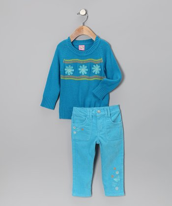 Turquoise Flower Trio Sweater & Pants - Toddler