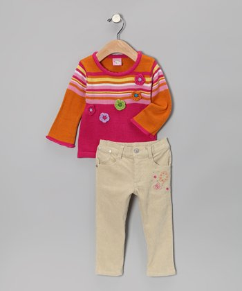 Fuchsia Stripe Sweater & Pants - Toddler