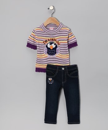 Purple 'Cute Owl' Sweater & Jeans - Infant & Toddler