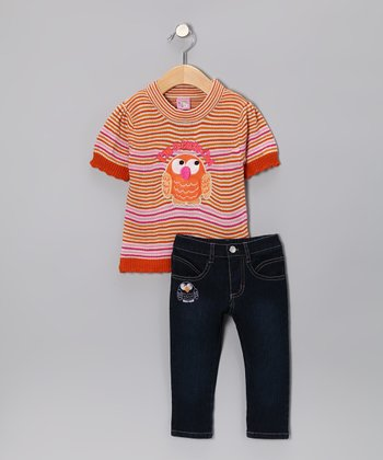 Orange 'Cute Owl' Sweater & Jeans - Infant & Toddler