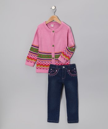 Pink Flower Stripe Cardigan & Jeans - Infant & Toddler