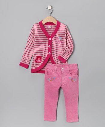 Fuchsia Raccoon Cardigan & Pants - Toddler