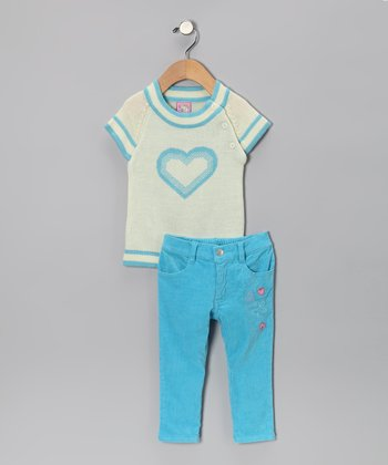 Turquoise Heart Sweater & Pants - Toddler