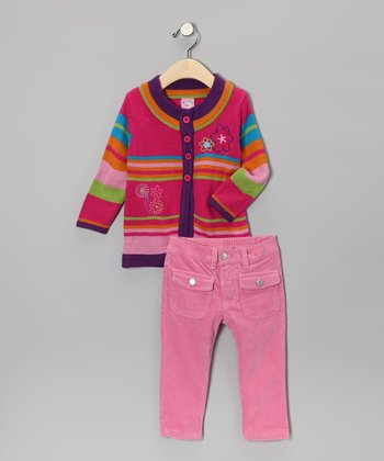 Fuchsia Flower Cardigan & Pants - Toddler