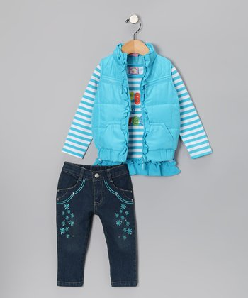 Aqua 'Life Is Sweet' Vest Set - Toddler