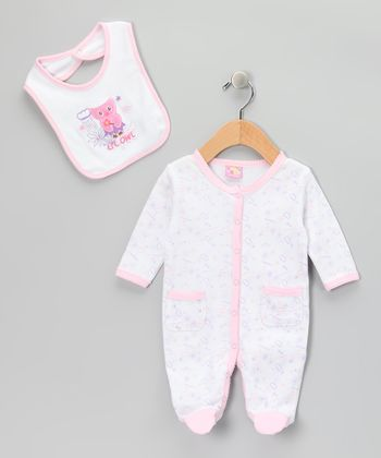 Pink 'Lil Owl' Footie & Bib - Infant