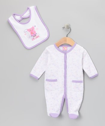 Purple 'Lil Owl' Footie & Bib - Infant