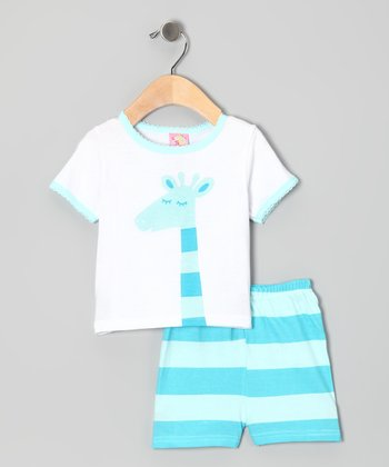 Blue Stripe Giraffe Tee & Shorts - Infant