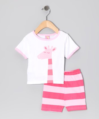 Pink Stripe Giraffe Tee & Shorts - Infant