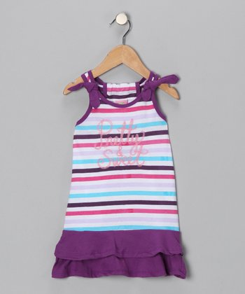 Purple Stripe 'Pretty & Sweet' Dress - Infant