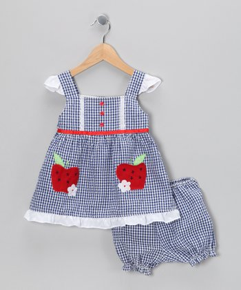 Blue Apple Seersucker Dress & Bloomers - Infant