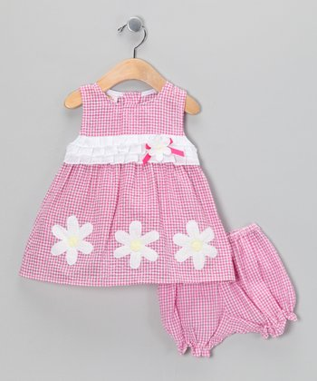 Pink Daisy Seersucker Dress & Bloomers - Infant
