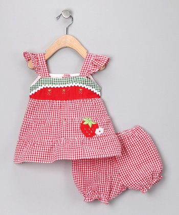 Red Strawberry Gingham Dress & Bloomers - Infant
