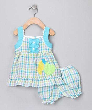 Blue Plaid Shell Dress & Bloomers - Infant