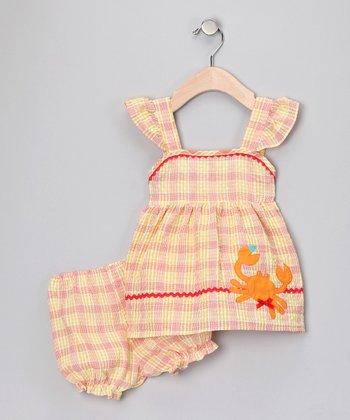 Yellow Plaid Crab Dress & Bloomers - Infant