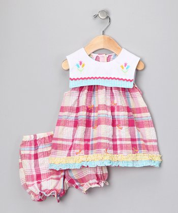 Pink Plaid Tulip Dress & Bloomers - Infant